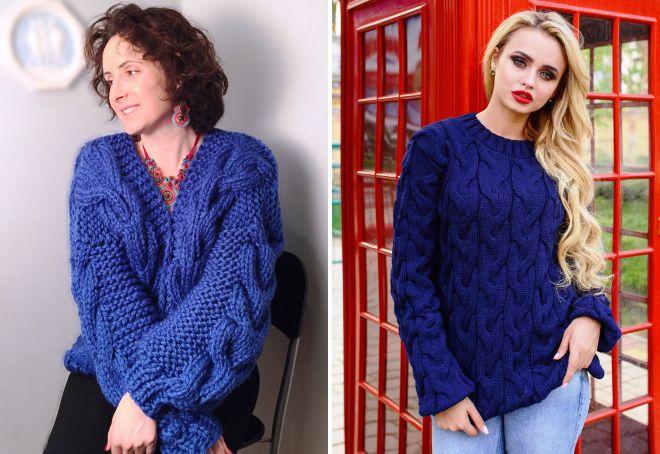 Модный синий свитер фото