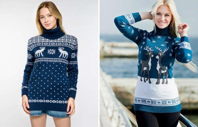 Модный синий свитер