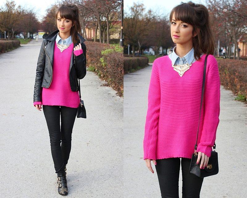 Как носить рубашку со свитером девушке