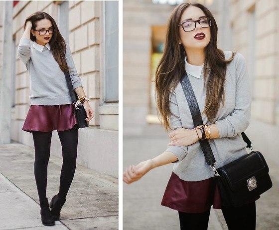 Как носить рубашку со свитером девушке фото