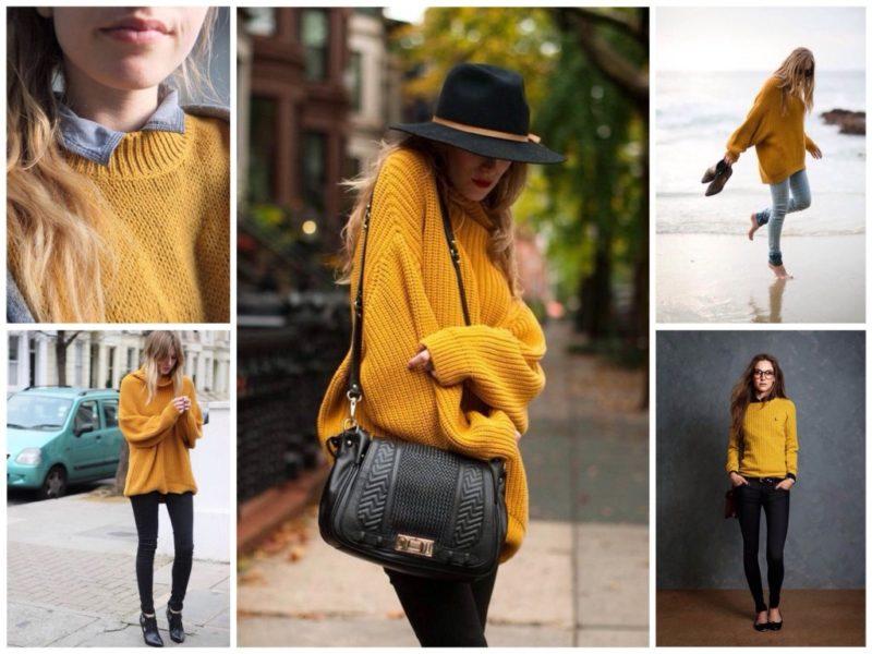 С чем носить желтый свитер? фото