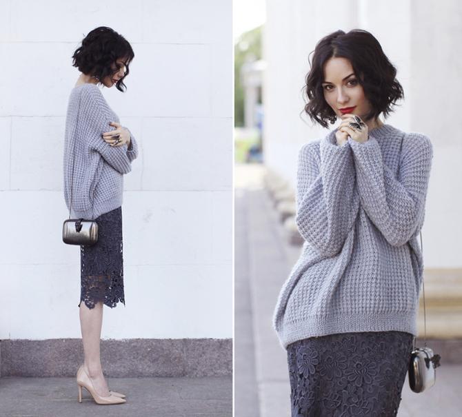 Правила комбинирования свитера с юбкой